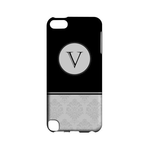 Black V w/ White Damask Design - Geeks Designer Line Monogram Series Hard Case for Apple iPod Touch 5