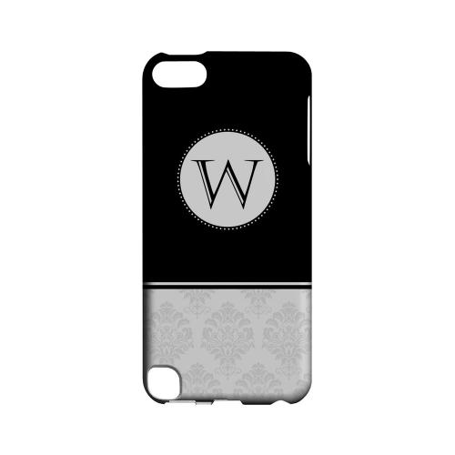 Black W w/ White Damask Design - Geeks Designer Line Monogram Series Hard Case for Apple iPod Touch 5