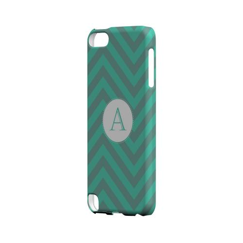 Seafoam Green A on Zig Zags - Geeks Designer Line Monogram Series Hard Case for Apple iPod Touch 5