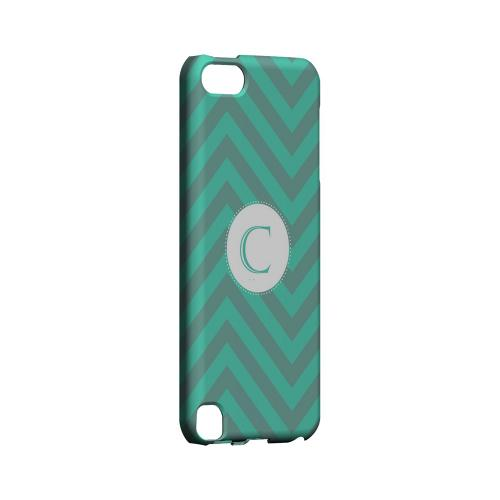 Seafoam Green C on Zig Zags - Geeks Designer Line Monogram Series Hard Case for Apple iPod Touch 5