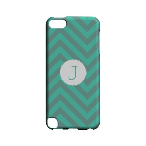 Seafoam Green J on Zig Zags - Geeks Designer Line Monogram Series Hard Case for Apple iPod Touch 5