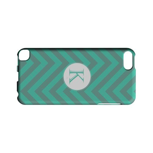 Seafoam Green K on Zig Zags - Geeks Designer Line Monogram Series Hard Case for Apple iPod Touch 5