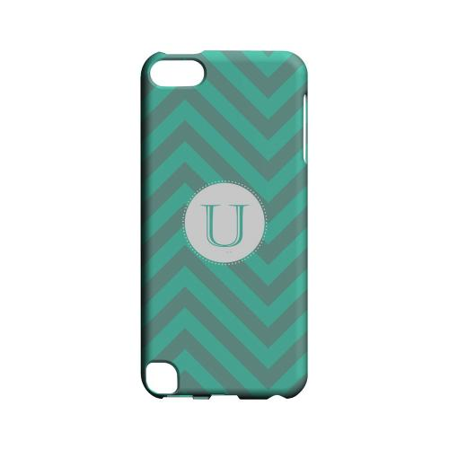 Seafoam Green U on Zig Zags - Geeks Designer Line Monogram Series Hard Case for Apple iPod Touch 5