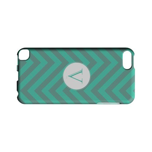 Seafoam Green V on Zig Zags - Geeks Designer Line Monogram Series Hard Case for Apple iPod Touch 5