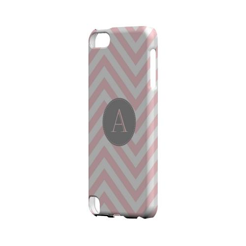 Gray Button A on Pale Pink Zig Zags - Geeks Designer Line Monogram Series Hard Case for Apple iPod Touch 5