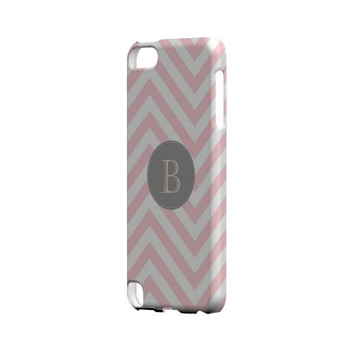 Gray Button B on Pale Pink Zig Zags - Geeks Designer Line Monogram Series Hard Case for Apple iPod Touch 5