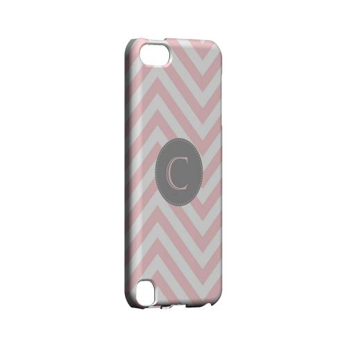 Gray Button C on Pale Pink Zig Zags - Geeks Designer Line Monogram Series Hard Case for Apple iPod Touch 5