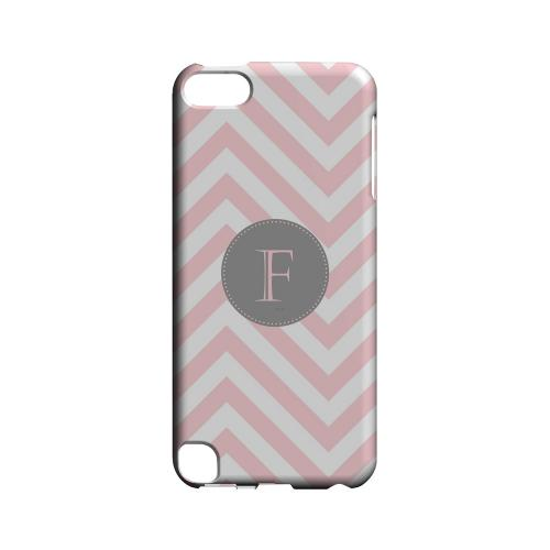 Gray Button F on Pale Pink Zig Zags - Geeks Designer Line Monogram Series Hard Case for Apple iPod Touch 5
