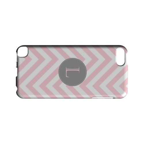 Gray Button L on Pale Pink Zig Zags - Geeks Designer Line Monogram Series Hard Case for Apple iPod Touch 5