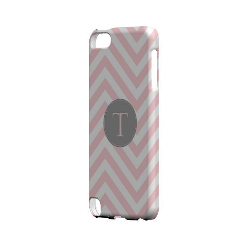Gray Button T on Pale Pink Zig Zags - Geeks Designer Line Monogram Series Hard Case for Apple iPod Touch 5