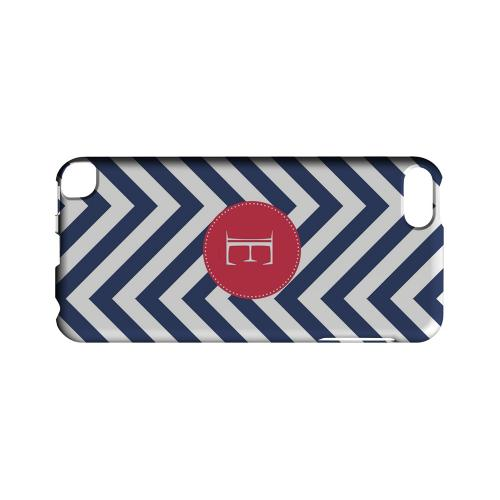 Cherry Button E on Navy Blue Zig Zags - Geeks Designer Line Monogram Series Hard Case for Apple iPod Touch 5