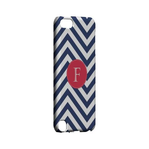 Cherry Button F on Navy Blue Zig Zags - Geeks Designer Line Monogram Series Hard Case for Apple iPod Touch 5