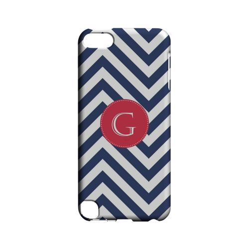 Cherry Button G on Navy Blue Zig Zags - Geeks Designer Line Monogram Series Hard Case for Apple iPod Touch 5