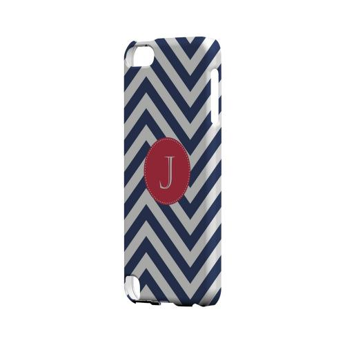 Cherry Button J on Navy Blue Zig Zags - Geeks Designer Line Monogram Series Hard Case for Apple iPod Touch 5