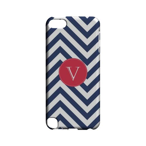 Cherry Button V on Navy Blue Zig Zags - Geeks Designer Line Monogram Series Hard Case for Apple iPod Touch 5