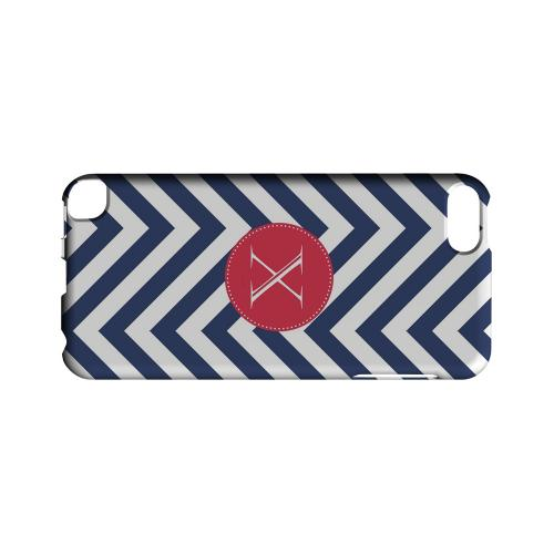 Cherry Button X on Navy Blue Zig Zags - Geeks Designer Line Monogram Series Hard Case for Apple iPod Touch 5