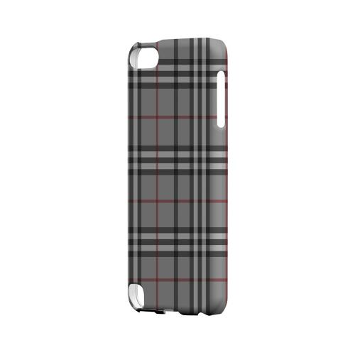 Classic Gray/ White/ Red Plaid - Geeks Designer Line Checker Series Hard Case for Apple iPod Touch 5