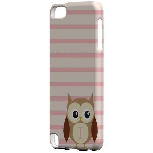 Brown Owl Monogram I on Pink Stripes - Geeks Designer Line Owl Series Hard Case for Apple iPod Touch 5