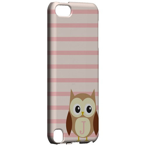 Brown Owl Monogram J on Pink Stripes - Geeks Designer Line Owl Series Hard Case for Apple iPod Touch 5