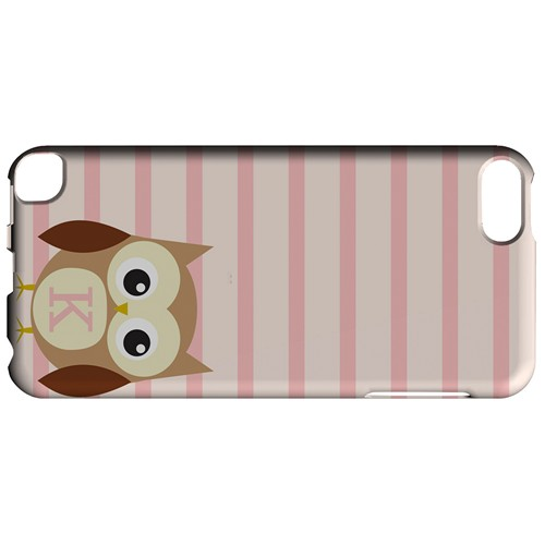 Brown Owl Monogram K on Pink Stripes - Geeks Designer Line Owl Series Hard Case for Apple iPod Touch 5
