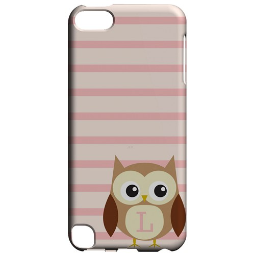 Brown Owl Monogram L on Pink Stripes - Geeks Designer Line Owl Series Hard Case for Apple iPod Touch 5