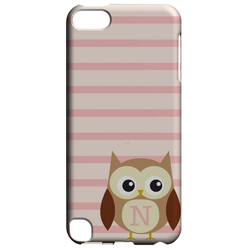 Brown Owl Monogram N on Pink Stripes - Geeks Designer Line Owl Series Hard Case for Apple iPod Touch 5