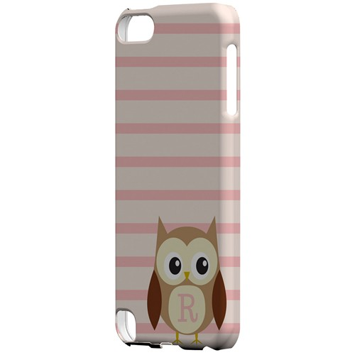 Brown Owl Monogram R on Pink Stripes - Geeks Designer Line Owl Series Hard Case for Apple iPod Touch 5