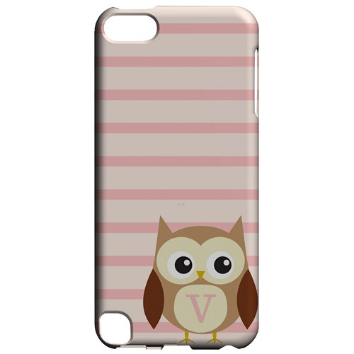 Brown Owl Monogram V on Pink Stripes - Geeks Designer Line Owl Series Hard Case for Apple iPod Touch 5