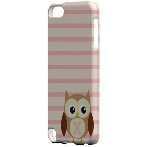 Brown Owl Monogram X on Pink Stripes - Geeks Designer Line Owl Series Hard Case for Apple iPod Touch 5