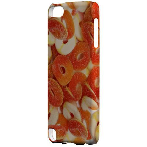 Geeks Designer Line (GDL) Slim Hard Case for Apple iPod Touch 5 - Orange/White Gummy Rings