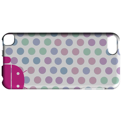 Geeks Designer Line (GDL) Slim Hard Case for Apple iPod Touch 5 - Pink Robot on Pastel Polka Dots