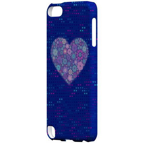 Geeks Designer Line (GDL) Slim Hard Case for Apple iPod Touch 5 - Shimmer Blue Dots & Heart