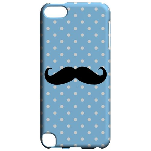 Geeks Designer Line (GDL) Slim Hard Case for Apple iPod Touch 5 - Stache on Sky Blue