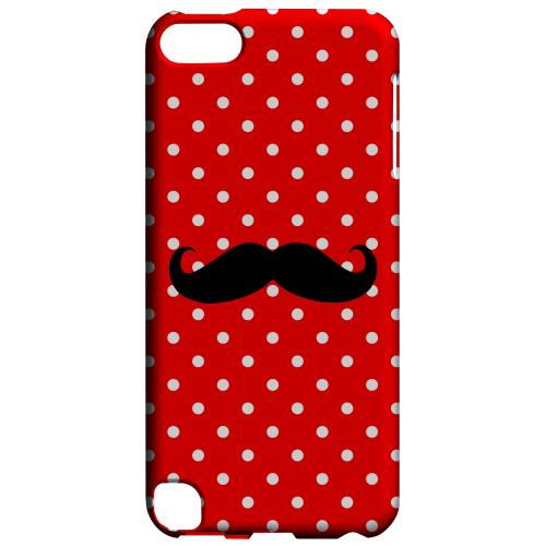 Geeks Designer Line (GDL) Slim Hard Case for Apple iPod Touch 5 - Stache on Red