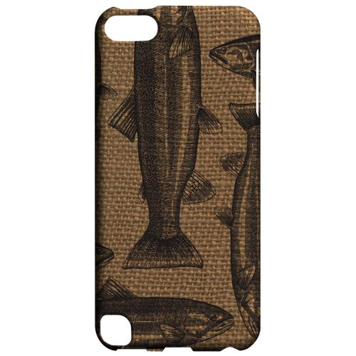 Geeks Designer Line (GDL) Slim Hard Case for Apple iPod Touch 5 - Vintage Salmon & Trout on Burlap