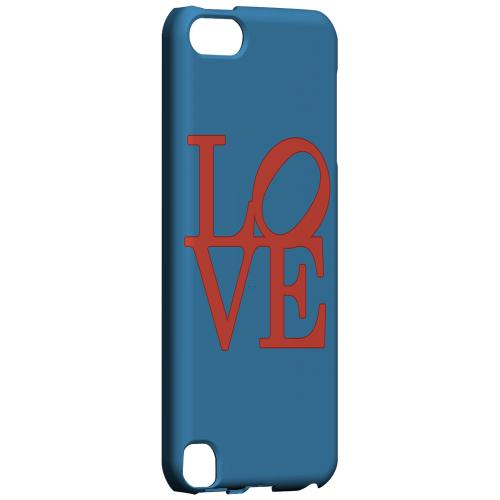 Geeks Designer Line (GDL) Slim Hard Case for Apple iPod Touch 5 - Red Love on Blue
