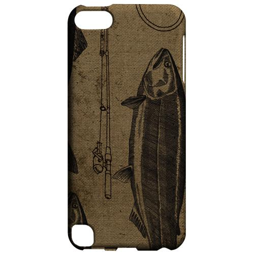 Geeks Designer Line (GDL) Slim Hard Case for Apple iPod Touch 5 - Vintage Salmon/Hook/Pole Print