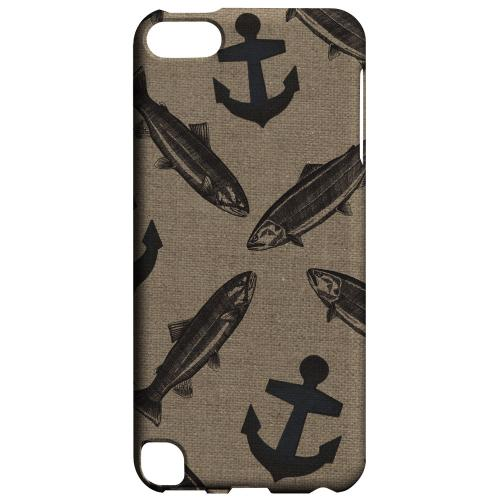 Geeks Designer Line (GDL) Slim Hard Case for Apple iPod Touch 5 - Vintage Salmon/Trout/Anchor Design