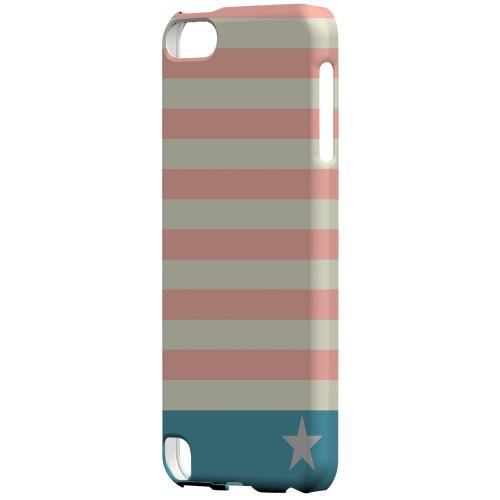 Geeks Designer Line (GDL) Slim Hard Case for Apple iPod Touch 5 - Bars & Stripes Forever on Pink/ Teal