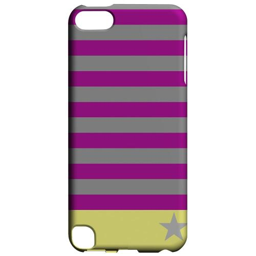 Geeks Designer Line (GDL) Slim Hard Case for Apple iPod Touch 5 - Bars & Stripes Forever on Purple/ Yellow