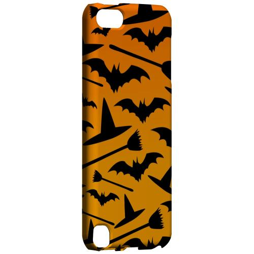 Geeks Designer Line (GDL) Slim Hard Case for Apple iPod Touch 5 - Witch Hat/Broom/Bat on Orange