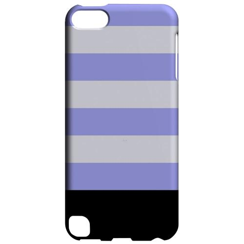 Geeks Designer Line (GDL) Slim Hard Case for Apple iPod Touch 5 - Purple Candy Stripes w/ Black Bar