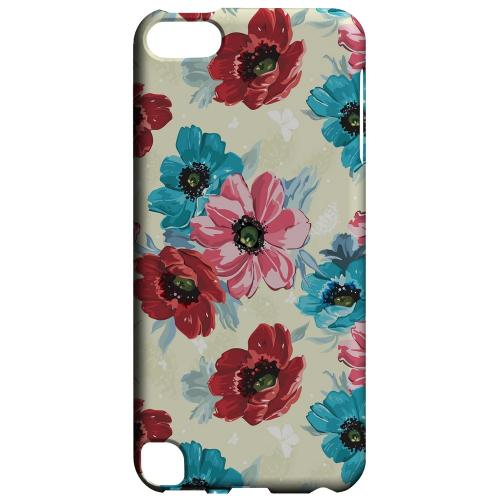 Geeks Designer Line (GDL) Slim Hard Case for Apple iPod Touch 5 - Blue/ Red Floral