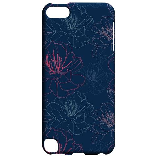 Geeks Designer Line (GDL) Slim Hard Case for Apple iPod Touch 5 - Flower Outline on Blue