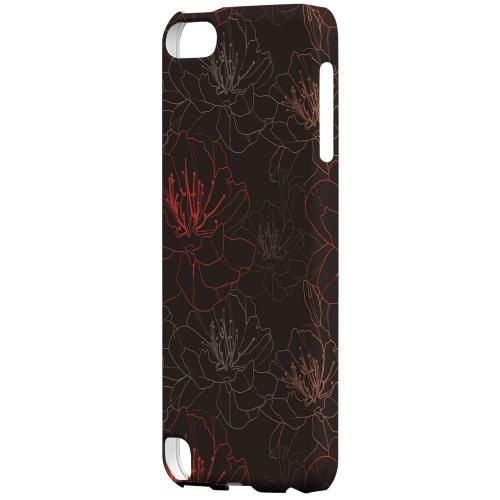 Geeks Designer Line (GDL) Slim Hard Case for Apple iPod Touch 5 - Flower Outline on Brown