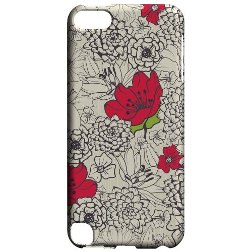 Geeks Designer Line (GDL) Slim Hard Case for Apple iPod Touch 5 - Flower Outline Red Accent