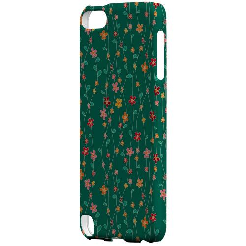 Geeks Designer Line (GDL) Slim Hard Case for Apple iPod Touch 5 - Flowers & Vines on Green