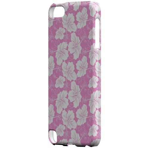 Geeks Designer Line (GDL) Slim Hard Case for Apple iPod Touch 5 - White Hibiscus on Pink