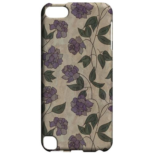 Geeks Designer Line (GDL) Slim Hard Case for Apple iPod Touch 5 - Purple Flowers & Vines Wallpaper
