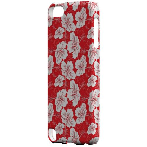 Geeks Designer Line (GDL) Slim Hard Case for Apple iPod Touch 5 - White Hibiscus on Red